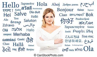 tizenéves, nyelv, tanul, fordítás, különböző, languages.,...