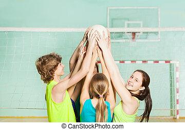 tizenéves, röplabda játékos, hatalom labda felső