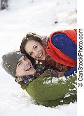 tizenéves, romantikus összekapcsol, hó, móka, birtoklás