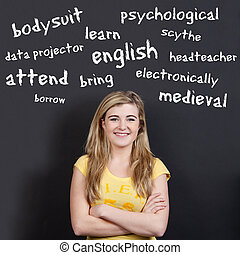 tizenéves, szókincs, ellen, magabiztos, angol, mosolyog lány
