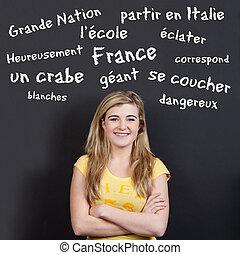 tizenéves, szókincs, francia, magabiztos, ellen, mosolyog...