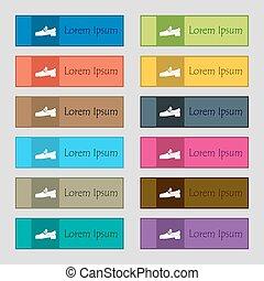 tizenkettő, állhatatos, high-quality, gombok, cégtábla., derékszögű, színes, házhely., vektor, cipő, gyönyörű, ikon