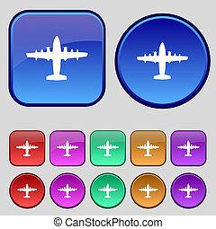 tizenkettő, állhatatos, szüret, cégtábla., gombok, repülőgép, ikon, -e, design.