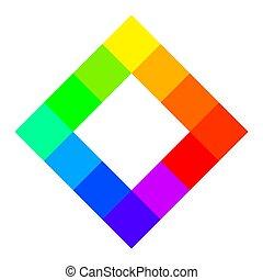 tizenkettő, egyedülálló, szín, hues, közül, szín, gördít, derékszögben alakzat