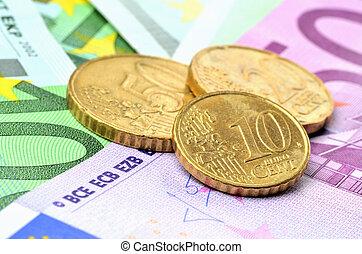 tizenkettő, harminc, tíz, centek, érmek, banknotes, euro