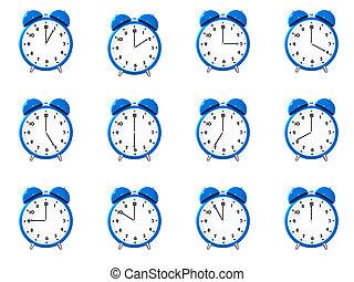 tizenkettő, kék, ijedtség, clock\'s