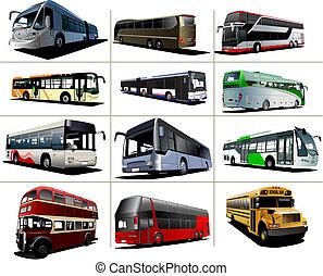 tizenkettő, kinds, város, ábra, vektor, buses.