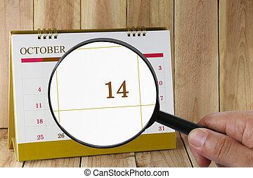 tizennégy, tizennegyedik, konzerv, magasztalás, october., hónap, naptár, szám, néz, dátum, kéz, összpontosít, pohár, ön
