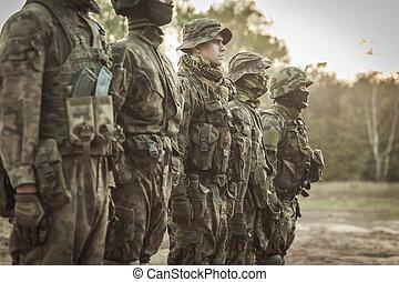 tjäna som soldat, hos, drill