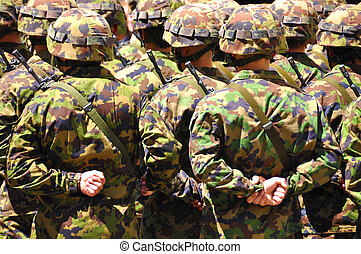 tjäna som soldat, in, kamouflage