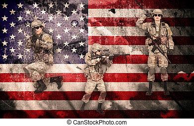 tjäna som soldat, in, strid, beredskap