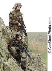 tjäna som soldat, in, tung, strid, ammunition