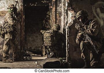 tjäna som soldat, och, nymodig, krig