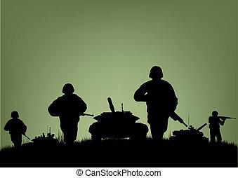 tjäna som soldat, på, den, utförande, av, strid, operations.