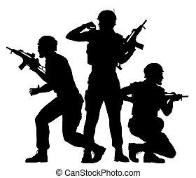 tjäna som soldat, stridande, tillsammans