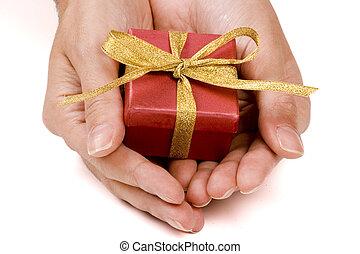 tjänande, a, gåva, packe