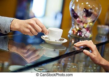 tjänande, espresso, folk, cafeteria, bartender, kaffe