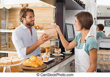 tjänande, lycklig, nätt, servitris