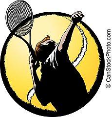 tjänande, manlig, spelare, tennis, bal