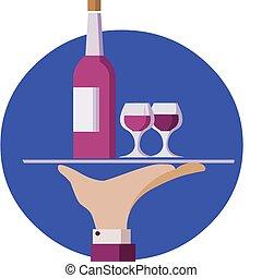 tjänande, uppassare, två, hand, flaska, vin, hålla, bricka, röd, glasögon
