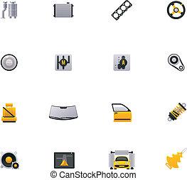 tjänste- bil, ikon, set., del, 2