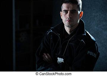 tjänsteman, in, polis enhetliga