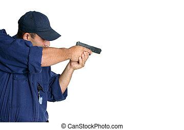 tjänsteman, på, plikt, hantering, a, vapen