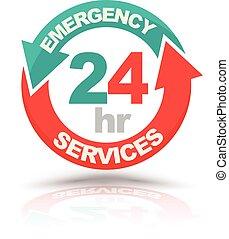 tjänsten, 24, icon., timmar, nödläge