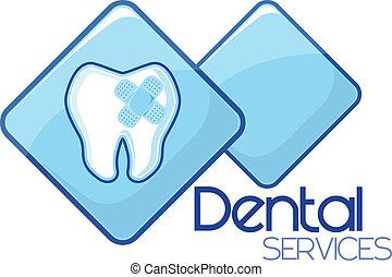 tjänsten, botande, dental, design