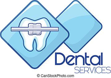 tjänsten, dental, design, ortodonti