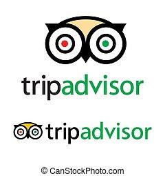 tjalla, tripadvisor, service, dragningar, -, travel., vektor, populär, logo, ikon, hotell