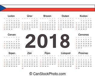 tjeck, cirkel, vektor, kalender, 2018