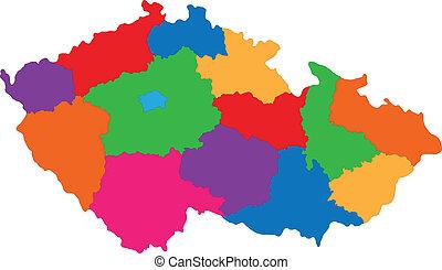 tjeck, karta, republik