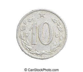 tjeckoslovakien, mynter, på, a, vit fond