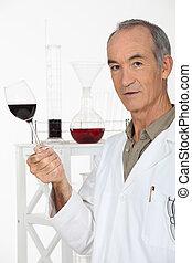 tjener, glas, viser, vin
