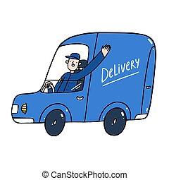 tjeneste, illustration, guy, automobilen, vektor, fødsel, blå