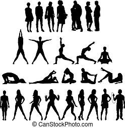 tjugo, silhouettes, beräknar, sju folk