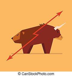 tjur och björn, symbol, av, börs