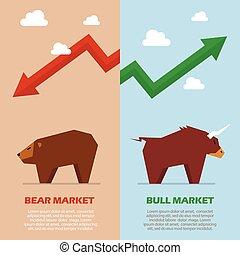 tjur och björn, symbol, av, börs, infographic
