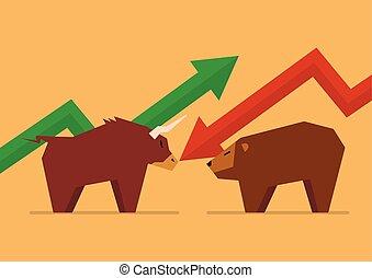 tjur, vs, björn, symbol, av, börs