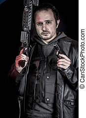 tjuv, beväpnat, man, med, svart leather klå upp, farlig