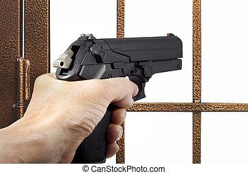 tjuv, beväpnat, med, a, pistol