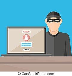 tjuv, hacker, stöld, lösenord, från, laptop