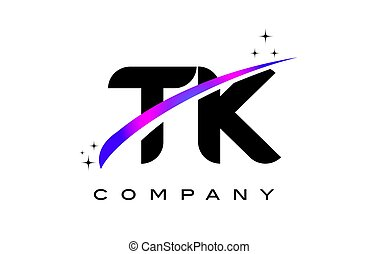 TK T K Black Letter Logo Design with Purple Magenta Swoosh