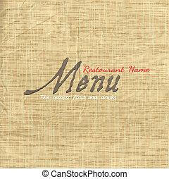 tkanivo, doklady karta, dávný, menu, design