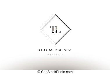 tl t l retro vintage black white alphabet company letter logo line design vector icon template