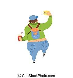 tlustý, chlap, procházka stranou