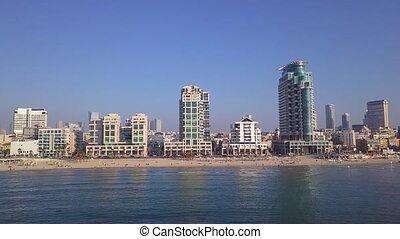 tlv, littoral, téléphone, skyline., aviv, vue, point, méditerranéen