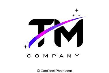TM T M Black Letter Logo Design with Purple Magenta Swoosh
