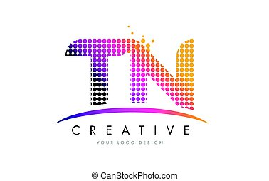 TN T N Dots Letter Logo Design with Magenta Bubble Circles and Swoosh